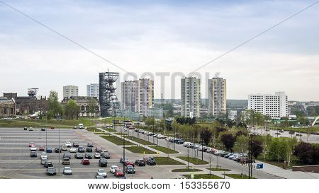 The Silesian Museum and high residential building in Katowice Poland