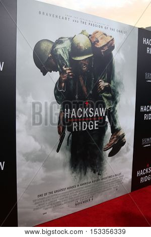 LOS ANGELES - OCT 24:  Hacksaw Ridge Poster, Atmosphere at the