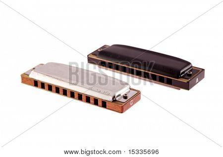 two harmonikas isolated on white background
