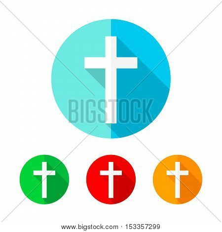 Set of colored christian cross icons. White christian cross with long shadow. Vector illustration. Christian cross on the round button.