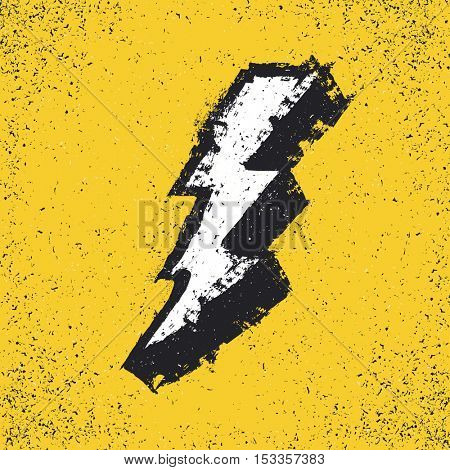 Lightning bolt grunge icon. Thunderbolt vector illustration. Levin grunge symbol. Grunge design element