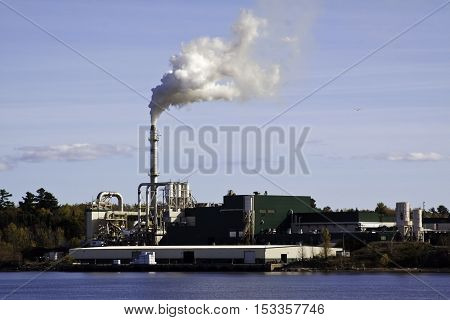 Miramichi Catham NB October 15 2016 -- Large industrial building with smoke stack spewing a cloud of billowous smoke on a bright sunny day in October. Shot is taken from the Miramichi side looking across the Miramichi River at Chatham.