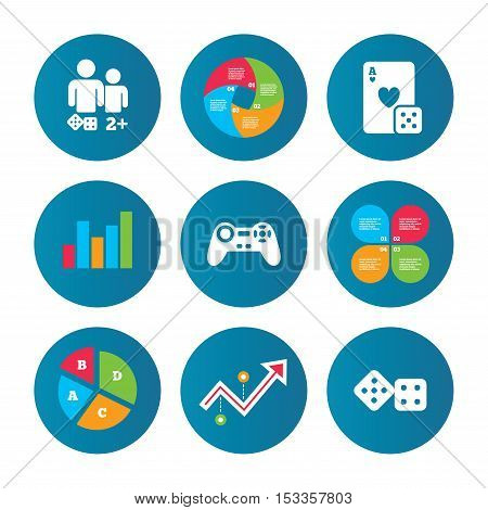 Business pie chart. Growth curve. Presentation buttons. Gamer icons. Board games players signs. Video game joystick symbol. Casino playing card. Data analysis. Vector