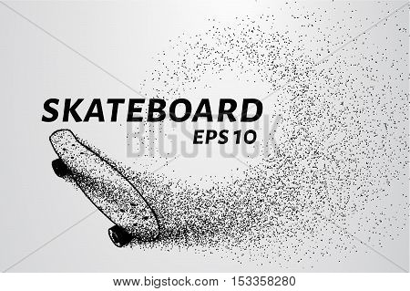 Skateboard of particles. The skateboard is made of dots and circles. Skateboard isolated.