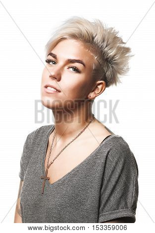 Beauty Short Haired Blond Girl On Isolated Background