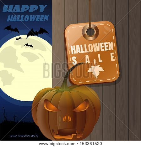 Halloween design. Tag - Halloween sale. Jack-o'-lantern on a background of a wooden fence and a full moon. Vector illustration