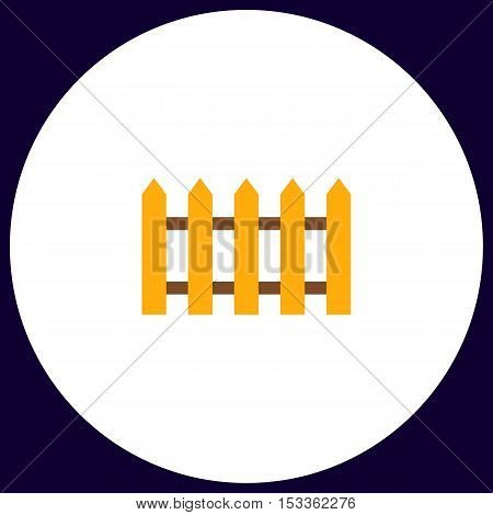 Fence Simple vector button. Illustration symbol. Color flat icon