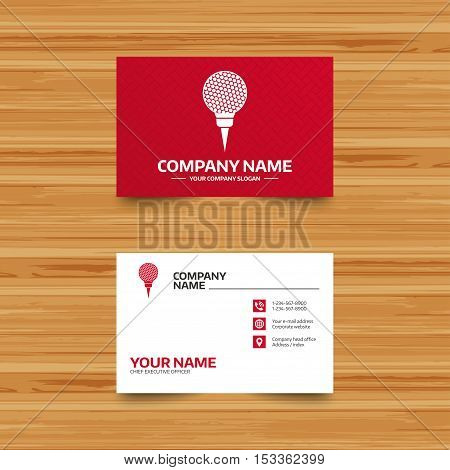 Business card template. Golf ball on tee sign icon. Sport symbol. Phone, globe and pointer icons. Visiting card design. Vector