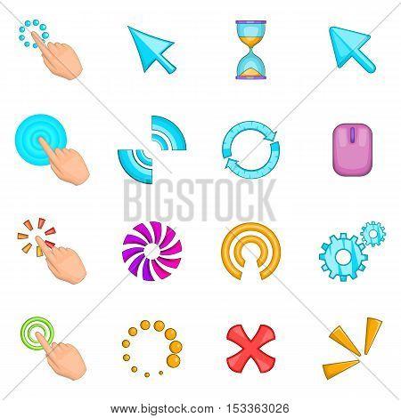 Click cursors icons set. Cartoon illustration of 16 Click cursors vector icons for web