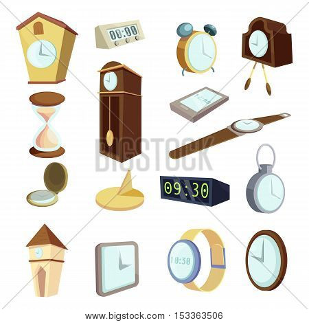 Different clocks icons set. Cartoon illustration of 16 different clocks vector icons for web