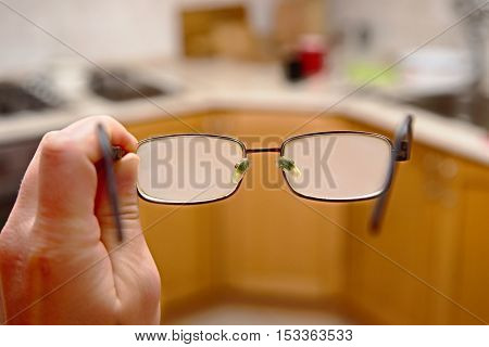 Glasses fogged with moisture after cold outside weather