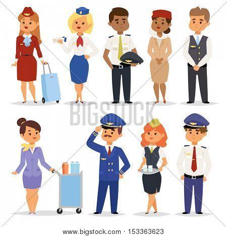Vector Illustration pilots flight attendants.