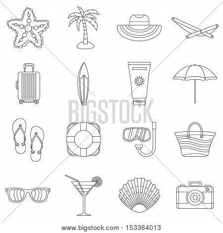 Summer rest icons set. Outline illustration of 16 summer rest vector icons for web