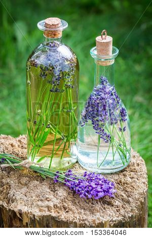Homemade healthy tincture of lavender on old wooden stump