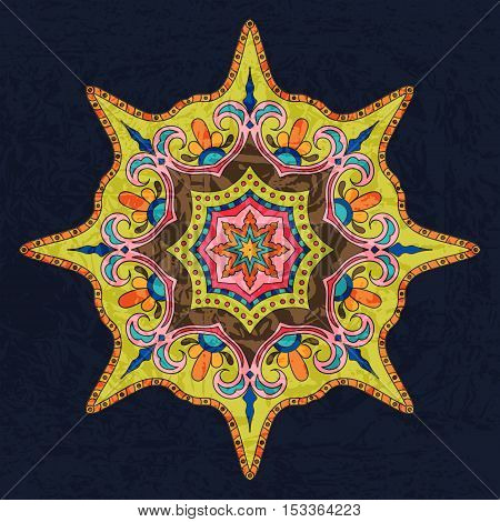 Bright Colored Mandala. Oriental Decoration Pattern. Colorful Eight-pointed Star. Stylized Lodestar. Universal Design Element. Circular Patterned Ornament. Decorative Round Tracery on Dark Background.