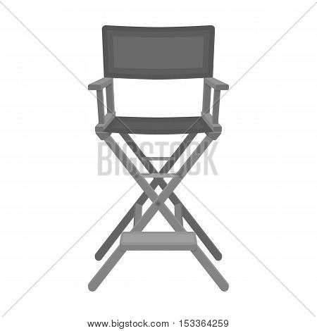 Director's chair icon in monochrome style isolated on white background. Films and cinema symbol vector illustration.