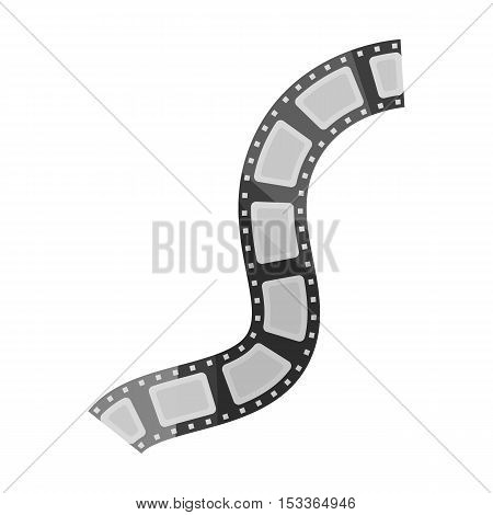 Film stock icon in monochrome style isolated on white background. Films and cinema symbol vector illustration.