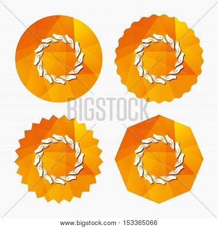 Donation hands circle sign icon. Charity or endowment symbol. Human helping hand palm. Triangular low poly buttons with flat icon. Vector