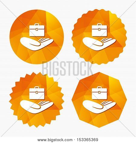 Baggage insurance sign icon. Hand holds travel luggage. Protection from loss of baggage. Triangular low poly buttons with flat icon. Vector