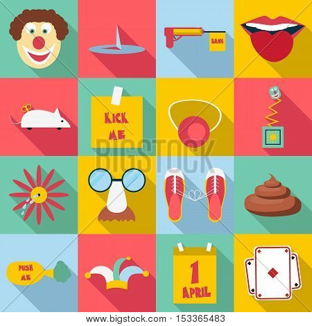 April fools day icons set. Flat illustration of 16 April fools day vector icons for web