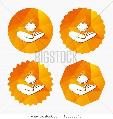 Donation hand sign icon. Hand holds Piggy bank. Charity or endowment symbol. Human helping hand palm. Triangular low poly buttons with flat icon. Vector