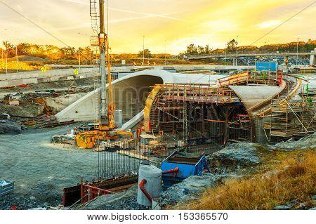 Parallel highway tunnels under construction in Stavanger Norway.
