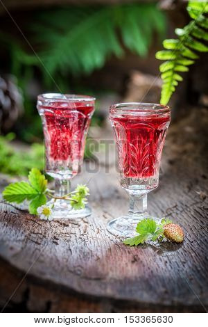 Sweet Liqueur With Wild Strawberry And Alcohol