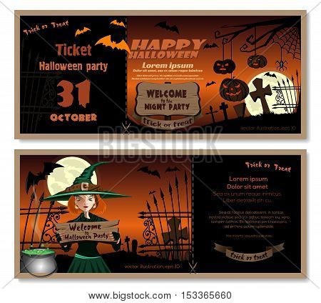 Halloween design. Template flyer invitation for Halloween night party. Cute young witch in a magic hat in the cemetery. Vector illustration