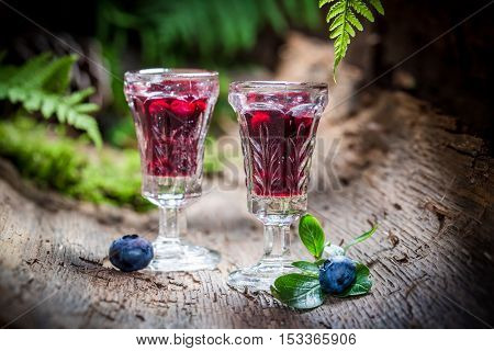Sweet liqueur with blueberries and alcohol on old bark