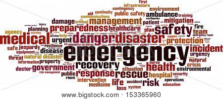 Emergency word cloud concept. Vector illustration on white
