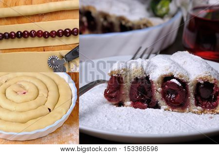 a piece of shortcrust dough wrapped in the form of snails stuffed with cherries