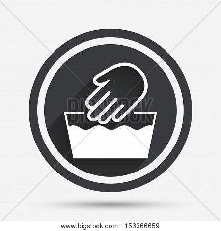 Hand wash sign icon. Not machine washable symbol. Circle flat button with shadow and border. Vector
