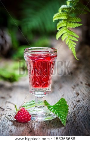 Delicious Raspberries Liqueur Made Of Alcohol And Fruits