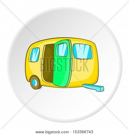 Yellow trailer icon. Cartoon illustration of yellow trailer vector icon for web