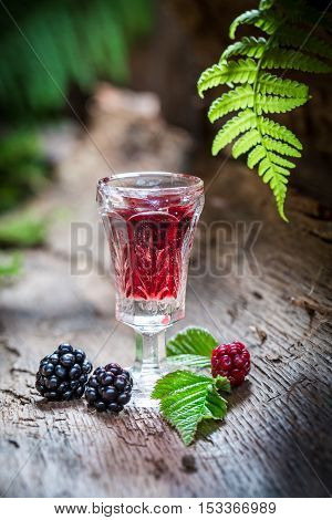 Sweet Liqueur Made Of Blackberries And Alcohol