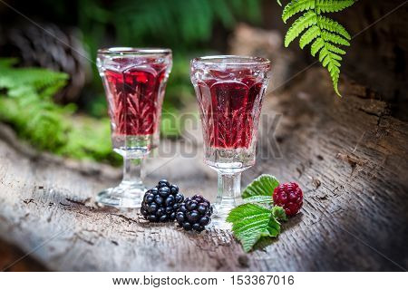 Sweet Liqueur Made Of Alcohol And Blackberries