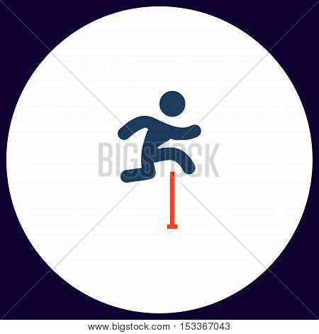 Steeplechase Simple vector button. Illustration symbol. Color flat icon