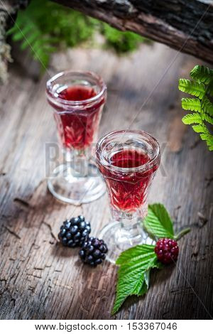 Tasty Liqueur Made Of Blackberries And Alcohol