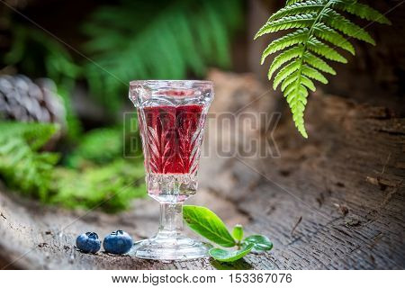 Strong liqueur with blueberries and alcohol on old bark