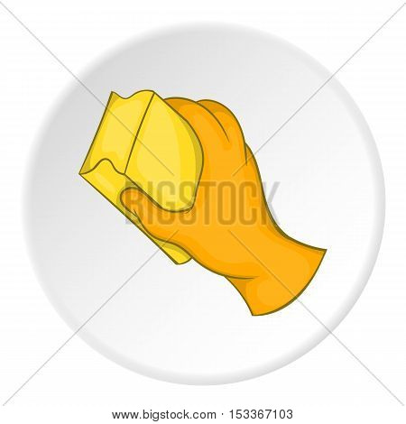 Hand in orange glove with yellow sponge icon. Cartoon illustration of hand in glove with sponge vector icon for web