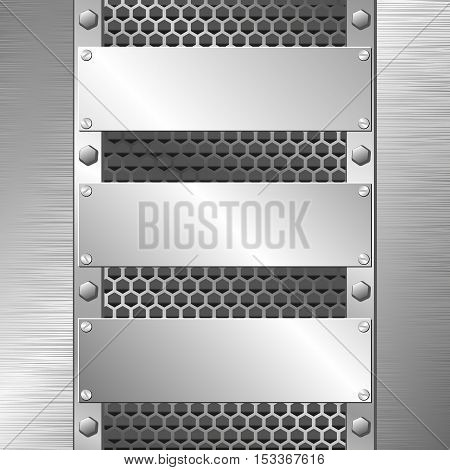 metal texture with three metallic plaques - vector illustration