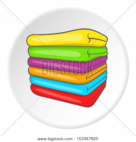 A stack of colored towels icon. Cartoon illustration of a stack of towels vector icon for web