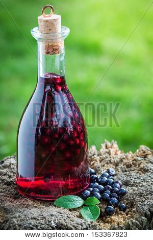 Fresh Liqueur In A Bottle With Blueberries And Alcohol