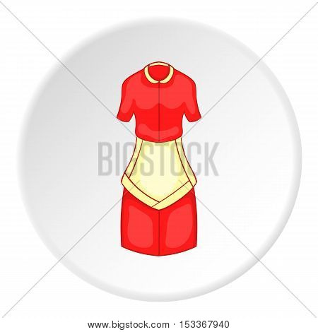 Red housewife dress with apron icon. Cartoon illustration of housewife dress with apron vector icon for web