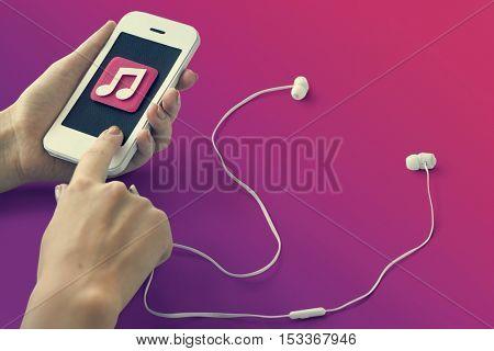 Music Playlist Song Internet Smartphone Leisure Concept