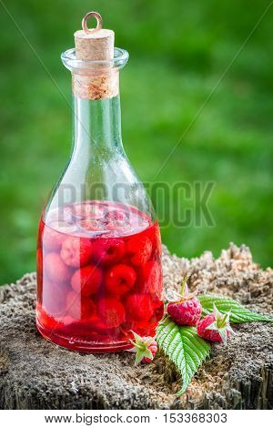 Healthy Raspberries Liqueur Made Of Alcohol And Fruits