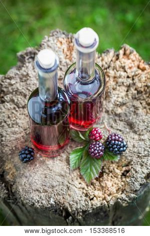 Fresh Liqueur Made Of Blackberries And Alcohol