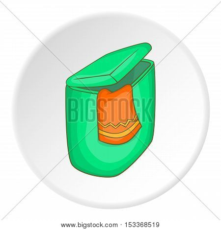 Green flasket for dirty washing icon. Cartoon illustration of flasket for dirty washing vector icon for web