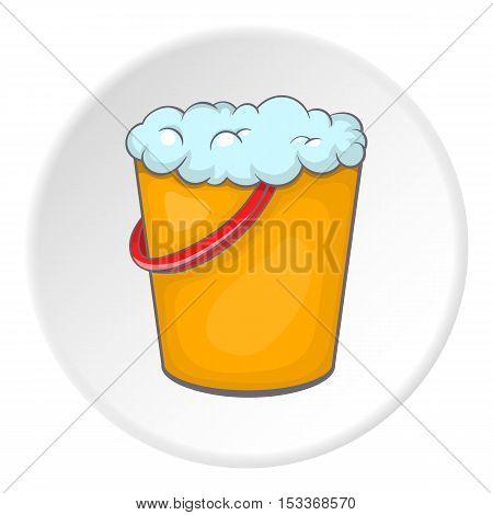 Orange bucket with foamy water icon. Cartoon illustration of bucket with foamy water vector icon for web
