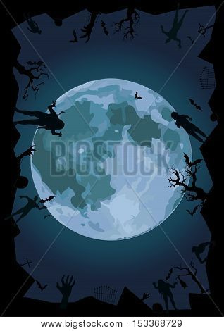 Halloween night: full moon beautiful gate ghost spook cemetery graves zombie hands trees bat rearmouse. Vector vertical closeup side view sign design signboard illustration to celebration holiday